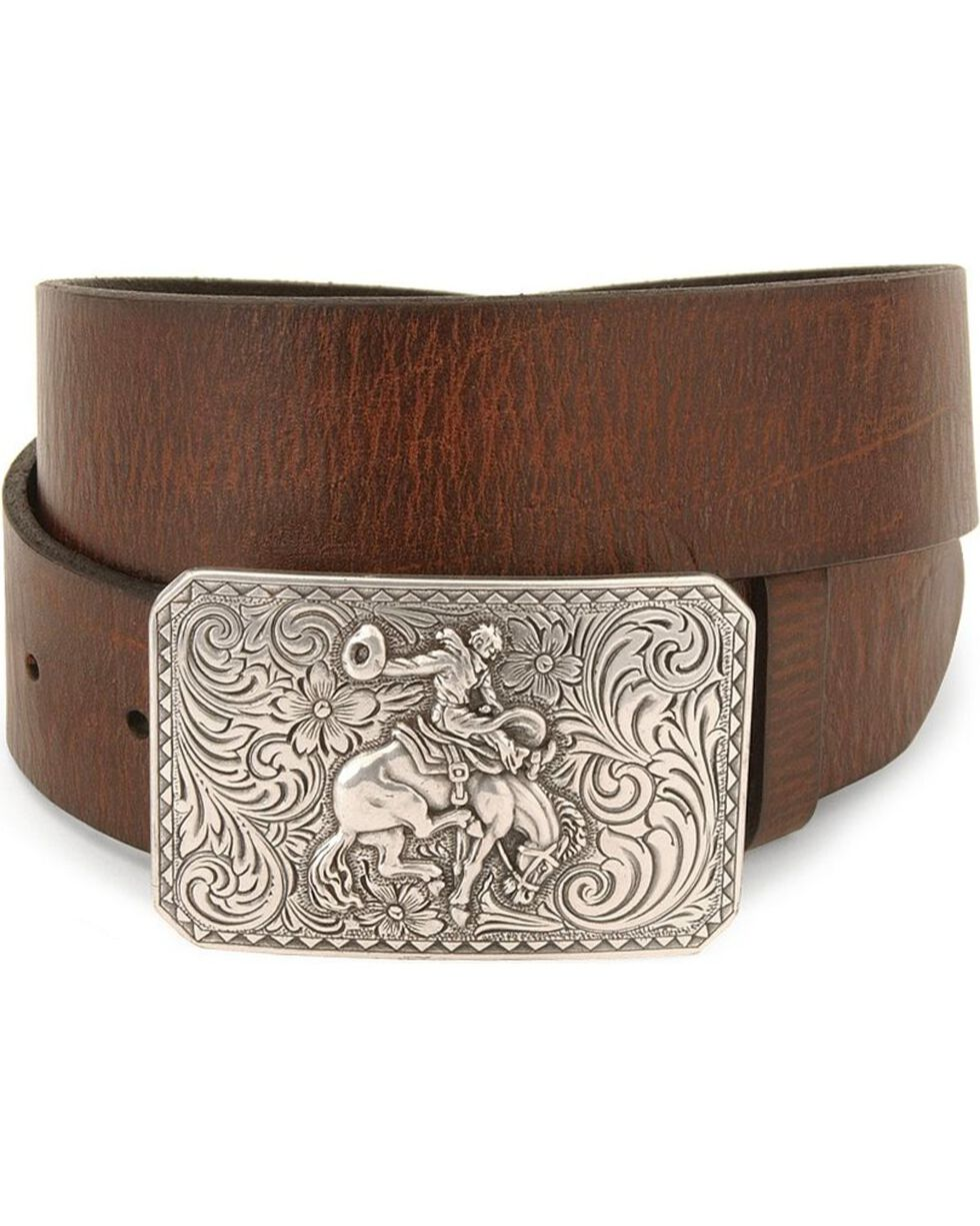 Nocona Bronco Buckle Leather Belt - Reg & Big, Brown, hi-res