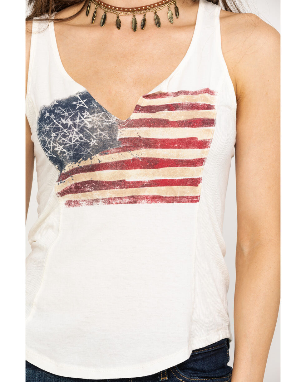 Others Follow Women's Painted Flag Crochet Back Tank Top, Red/white/blue, hi-res