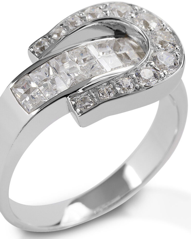 Kelly Herd Women's Clear Contemporary Buckle Ring , Silver, hi-res