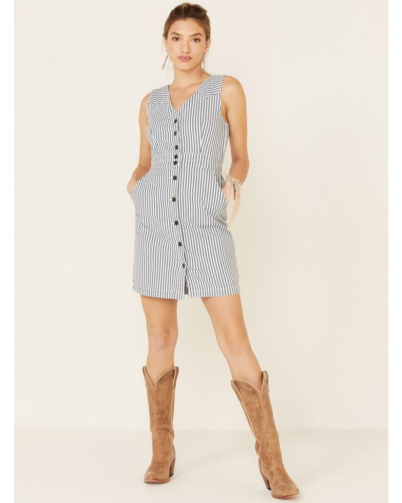 Wrangler Women's Stripe Button Front Dress, Navy, hi-res