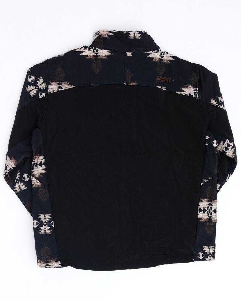 HOOey Boys' Black Aztec Logo Sleeve Zip-Up Softshell Jacket , Black, hi-res