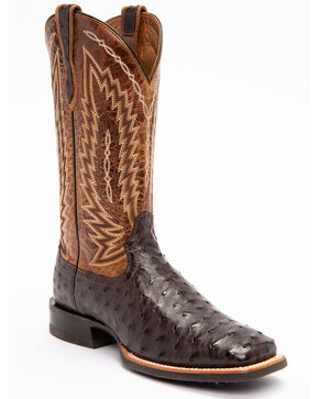 Ariat Men's Brown Platinum Full Quill Ostrich Boots - Square Toe , Brown, hi-res