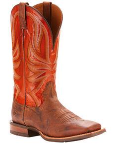 Ariat Men's Range Boss Trusty Brown Cowboy Boots - Square Toe, Tan, hi-res