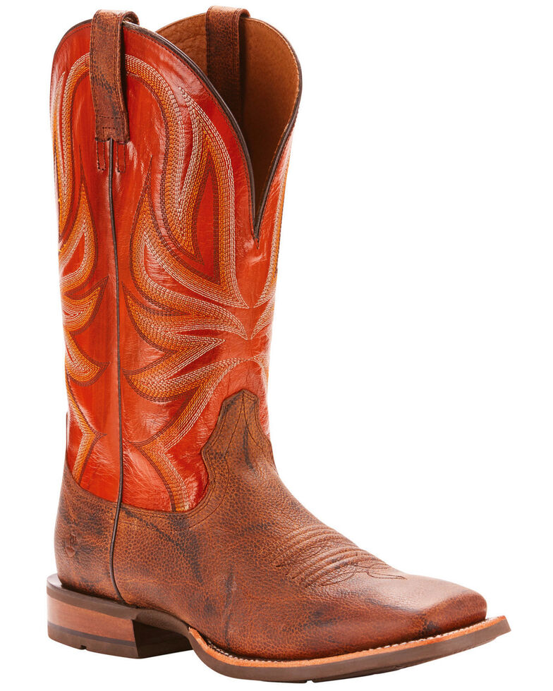Ariat Men's Range Boss Trusty Brown Cowboy Boots - Square Toe, Tan, hi-res