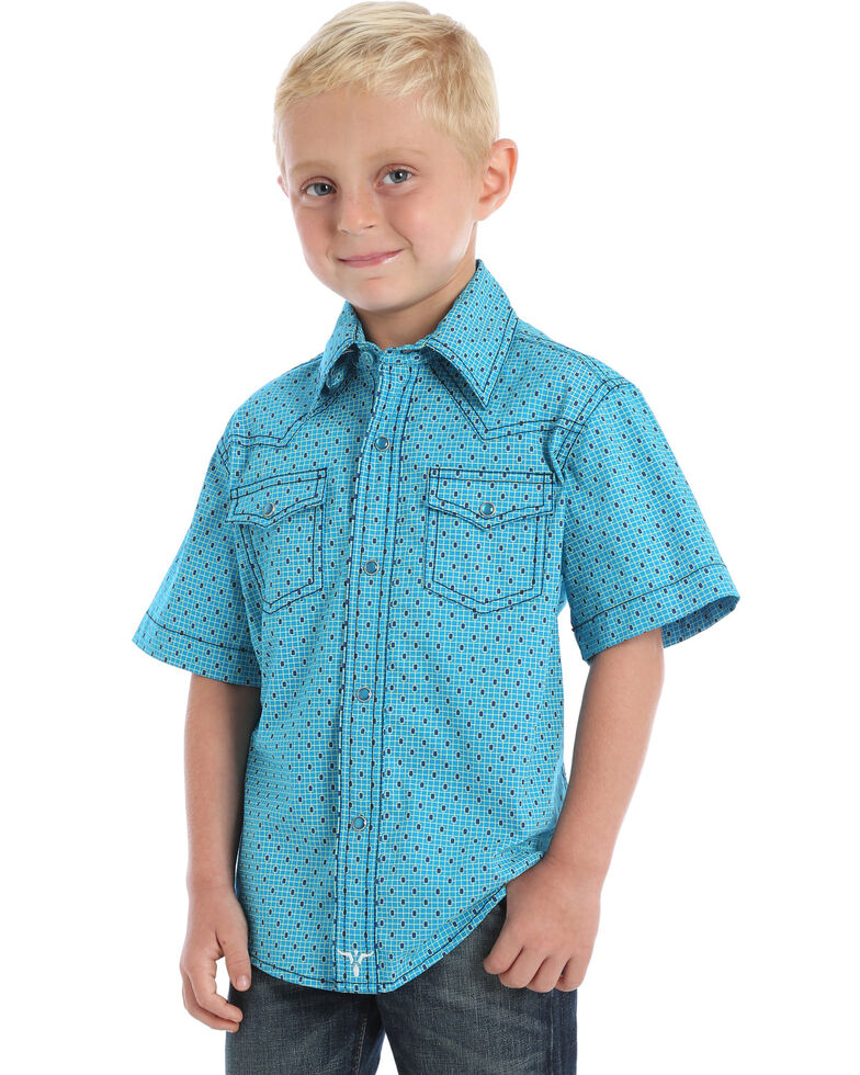 Wrangler 20X Boys' Geo Print Advanced Comfort Short Sleeve Western Shirt , Turquoise, hi-res