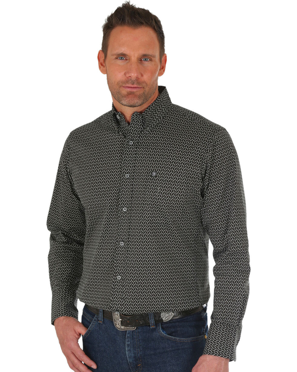 Wrangler Men's Black Performance Print Western Shirt , Black/white, hi-res