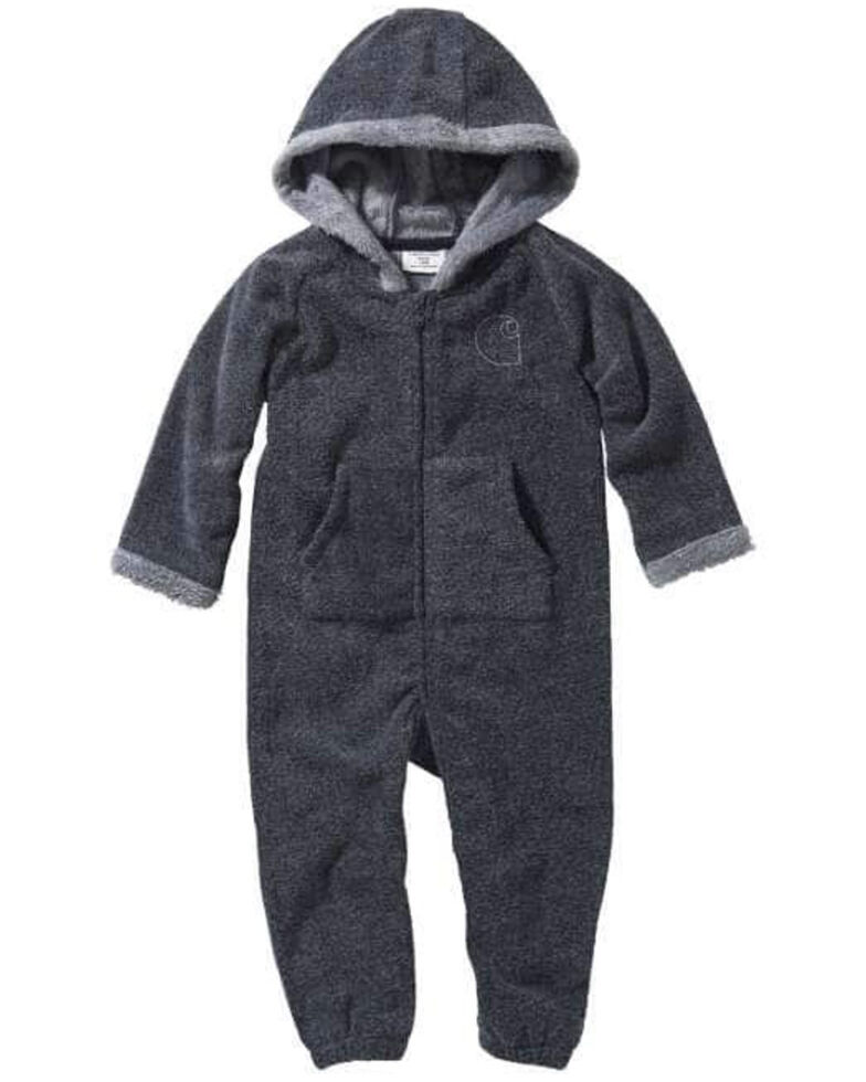 Carhartt Infant Boys' Fleece Fur Lined Hooded Zip-Up Coveralls , Grey, hi-res