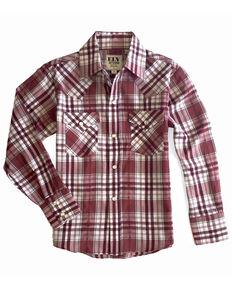 Ely Walker Boys' Multi Aztec Plaid Long Sleeve Western Shirt , Burgundy, hi-res