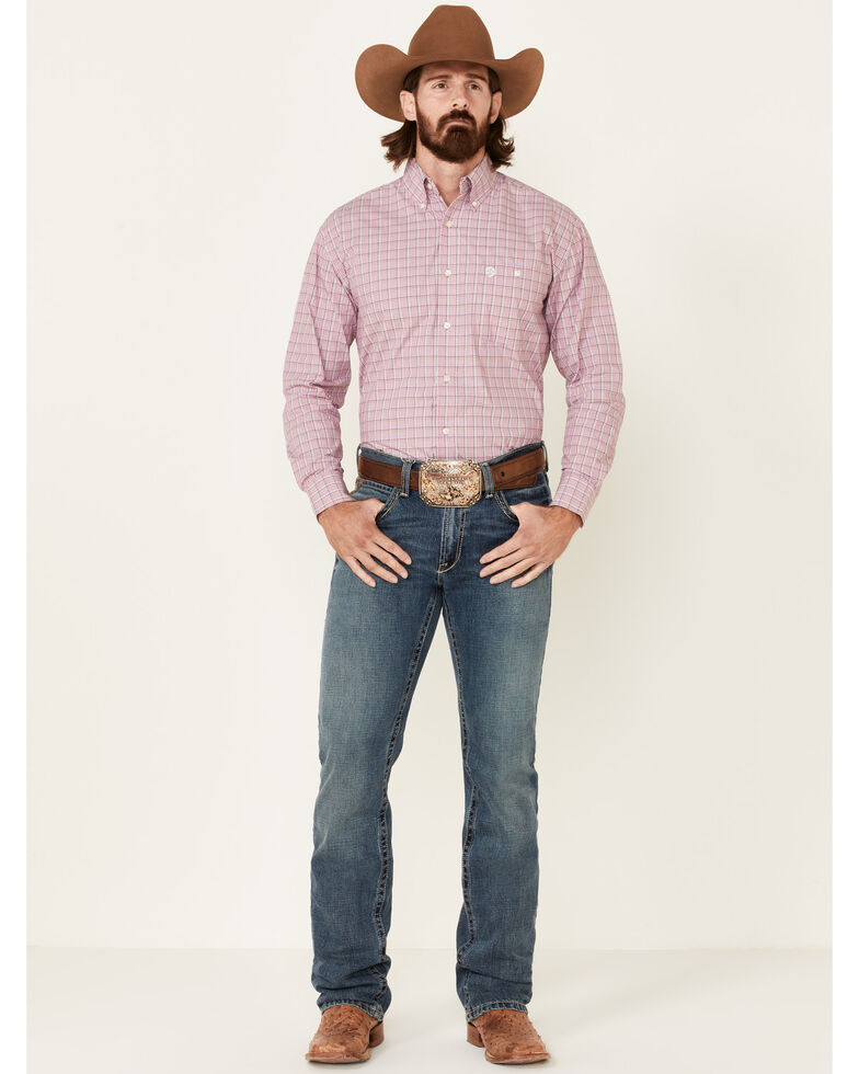 George Strait By Wrangler Men's Pink Plaid Long Sleeve Button-Down Western Shirt - Tall, Pink, hi-res