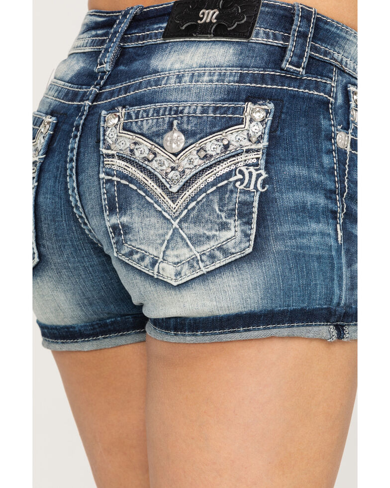 Miss Me Women's Faux Flap Bling Shorts, Blue, hi-res