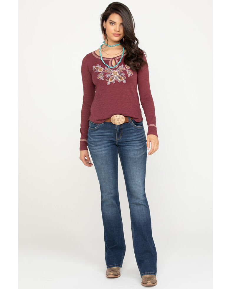 Shyanne Women's Burgundy Embroidered Peasant Bell Sleeve Top, Burgundy, hi-res