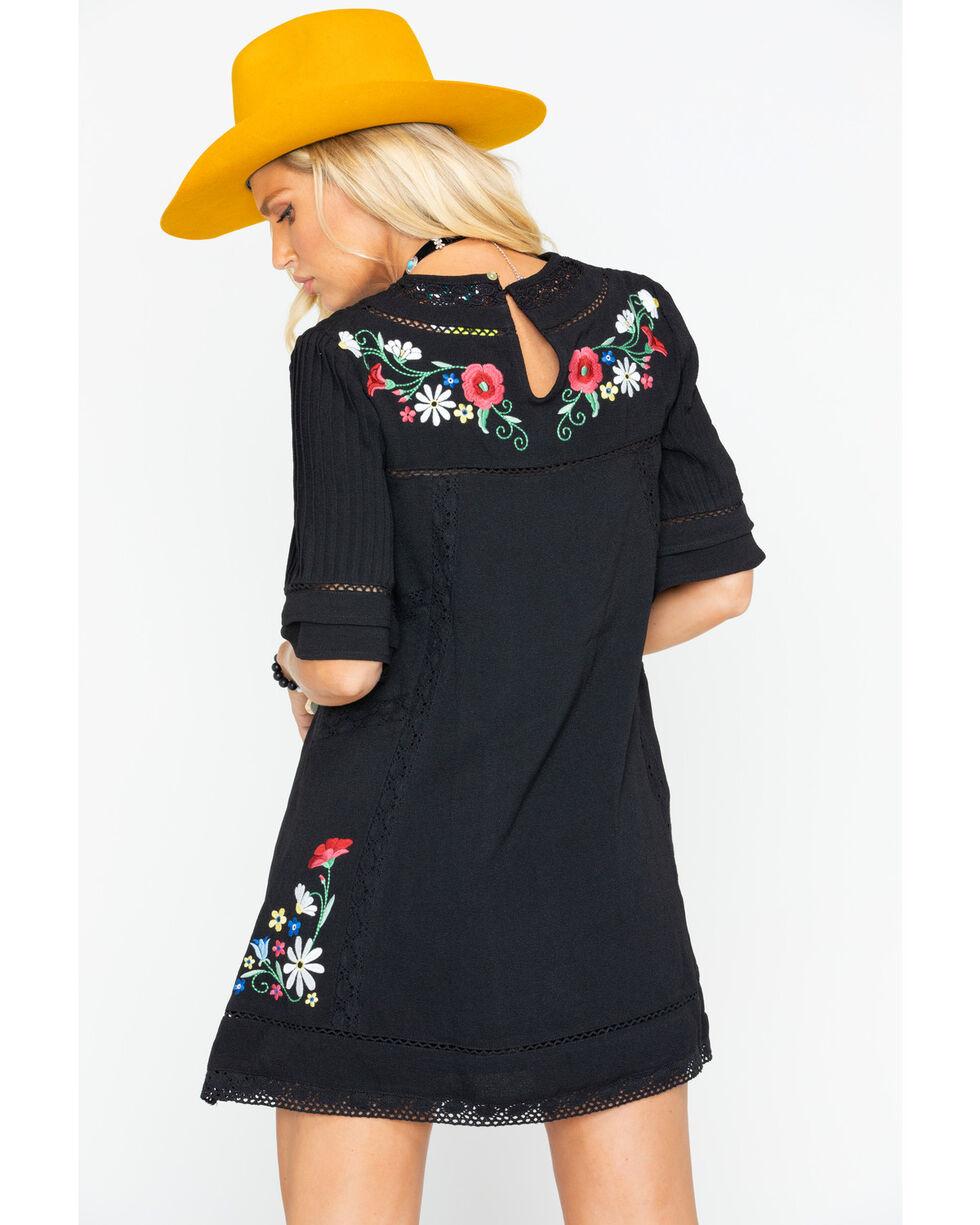 MI OH MI Women's Elbow Sleeve Floral Dress  , Black, hi-res