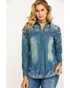 Tasha Polizzi Women's Revolution Denim Embroidered Long Sleeve Shirt , Blue, hi-res