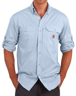 Carhartt Men's Light Blue Force Ridgefield Solid Long-Sleeve Shirt, Light Blue, hi-res