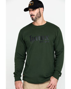 Hawx® Men's Green Graphic Thermal Long Sleeve Work T-Shirt , Green, hi-res