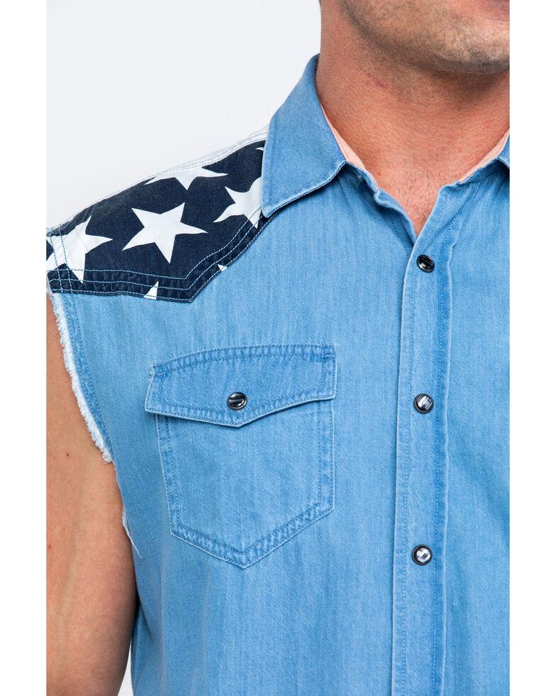 Cody James Men's Light Chambray Sleeveless Denim Western Shirt  , Light Blue, hi-res