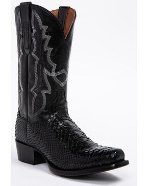 Dan Post Men's Black Python Cowboy Boots - Round Toe, Black, hi-res