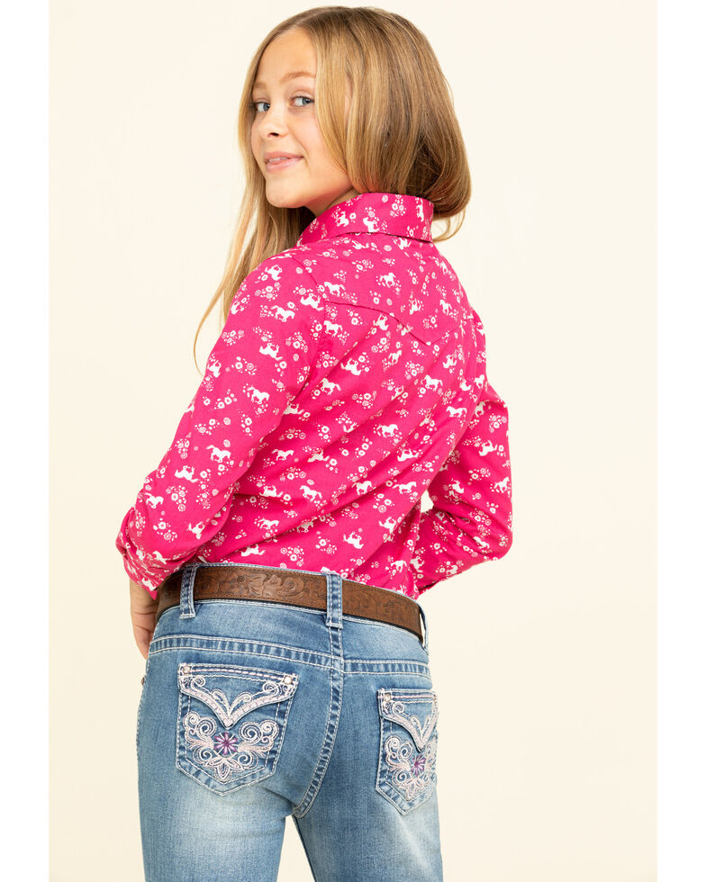Shyanne Girls' Pink Horse Print Snap Long Sleeve Western Shirt, Pink, hi-res