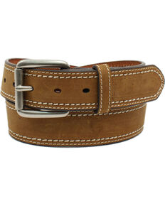Ariat Men's Double Stitched Brown Belt, Medium Brown, hi-res