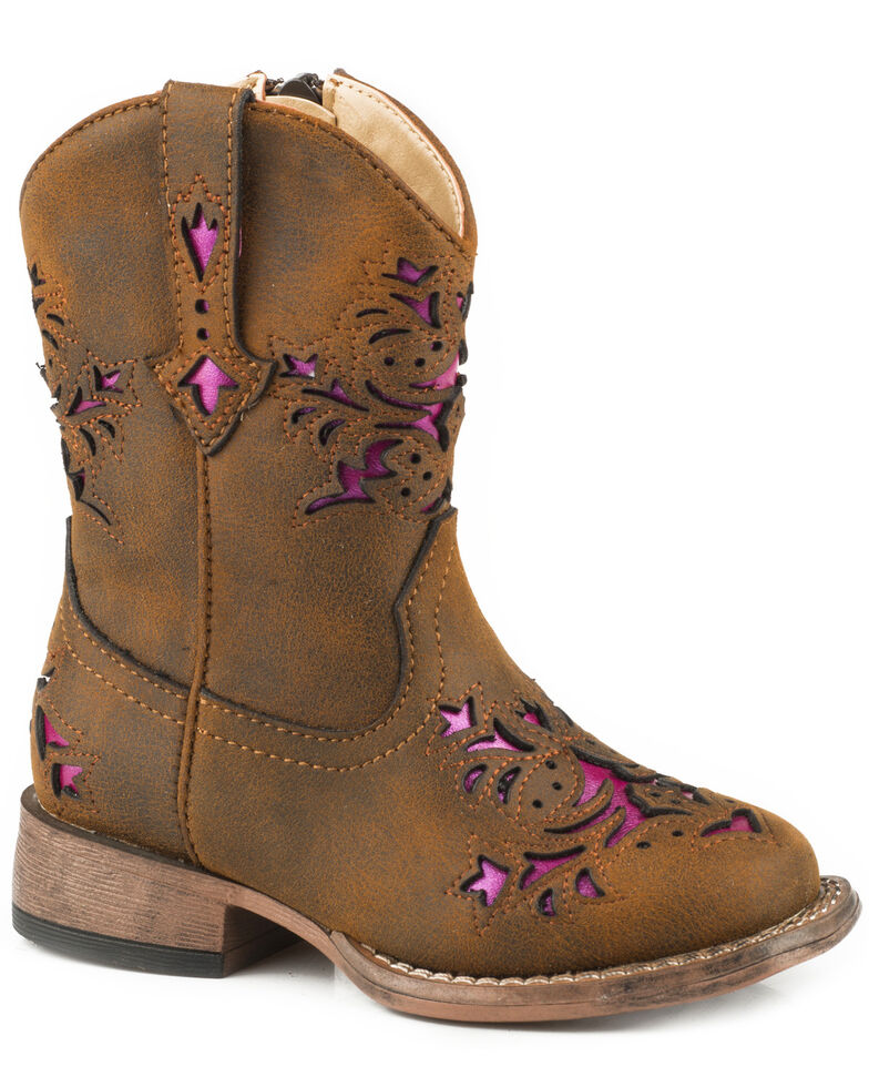 Roper Toddler Girls' Lola Brown Metallic Underlay Cowgirl Boots - Square Toe, Brown, hi-res