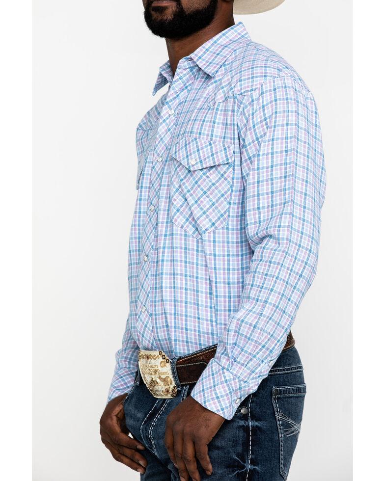 Resistol Men's Big Oak Small Plaid Long Sleeve Western Shirt , Light Blue, hi-res