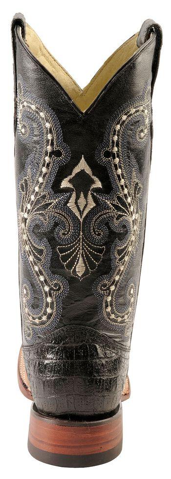 Ferrini Caiman Croc Print Leather Cowgirl Boots - Square Toe, Black, hi-res