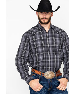 Stetson Men's Black Large Plaid Long Sleeve Western Shirt , Black, hi-res