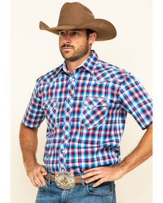 Rough Stock By Panhandle Men's Freedom Ombre Plaid Short Sleeve Western Shirt , Red, hi-res