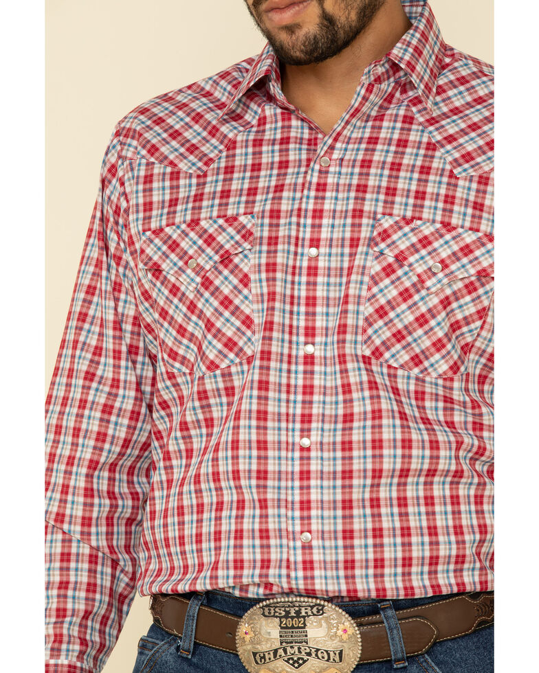 Ely Cattleman Men's Multi Small Plaid Long Sleeve Western Shirt , Medium Red, hi-res