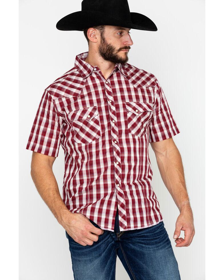 Wrangler Men's Red Fashion Plaid Short Sleeve Western Shirt, Dark Red, hi-res