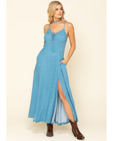 Idyllwind Women's Down Home Polka Dot Maxi Dress, Blue, hi-res