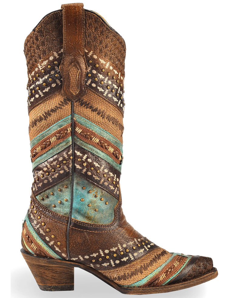 Corral Brown & Turquoise Embroidery and Studs Cowgirl Boots - Snip Toe, Brown, hi-res