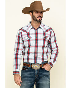 Cody James Men's Rough Talk Plaid Long Sleeve Western Shirt , Red, hi-res