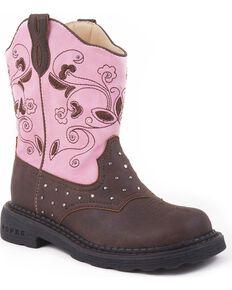 Roper Girls' Light Up Western Boots, Brown, hi-res