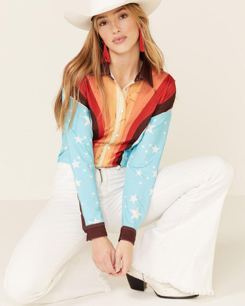 Ranch Dress'n Women's Retro Striped Star Print Long Sleeve Western Shirt , Multi, hi-res