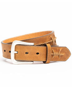 Moonshine Spirit Barbed Wire Accent Brown Belt, Brown, hi-res