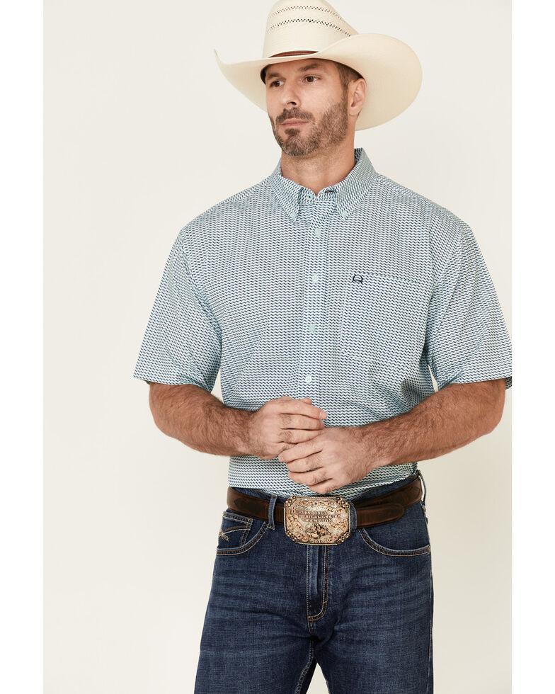 Cinch Men's Arena Flex Mint Geo Print Short Sleeve Western Shirt , Bright Green, hi-res