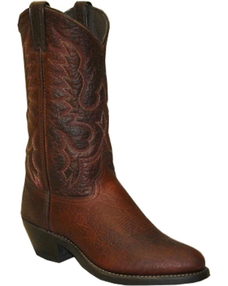 Abilene Men's Bison Leather Cowboy Boots - Medium Toe, Brown, hi-res