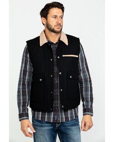 Cripple Creek Men's Black Wool Melton Snap Front Collared Vest , Black, hi-res