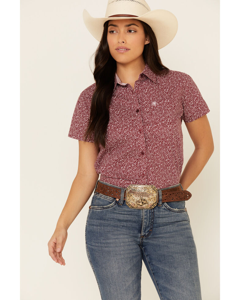 Ariat Women's Red Floral Print Kirby Short Sleeve Western Core Shirt , Red, hi-res