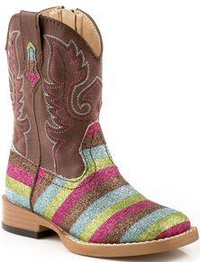 Roper Toddler Glittlery Striped Cowgirl Boots - Square Toe, Multi, hi-res