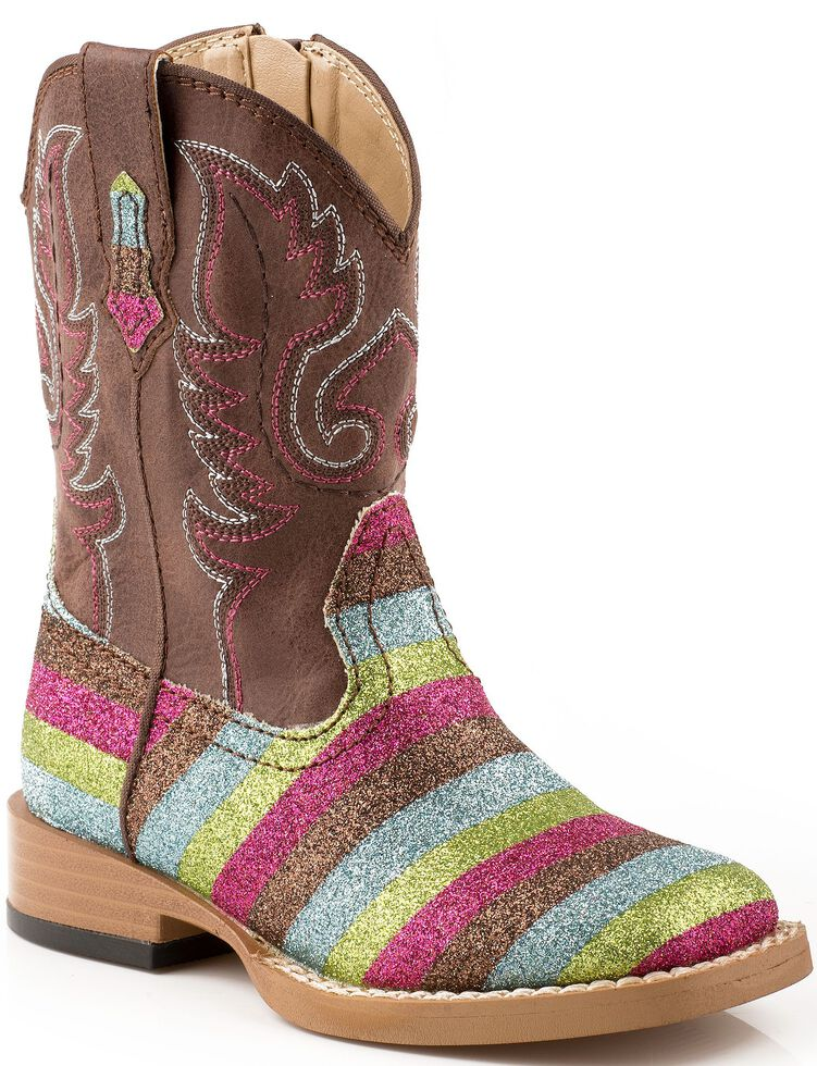 Roper Toddler Glittlery Striped Cowgirl Boots - Square Toe, Multi, hi-res