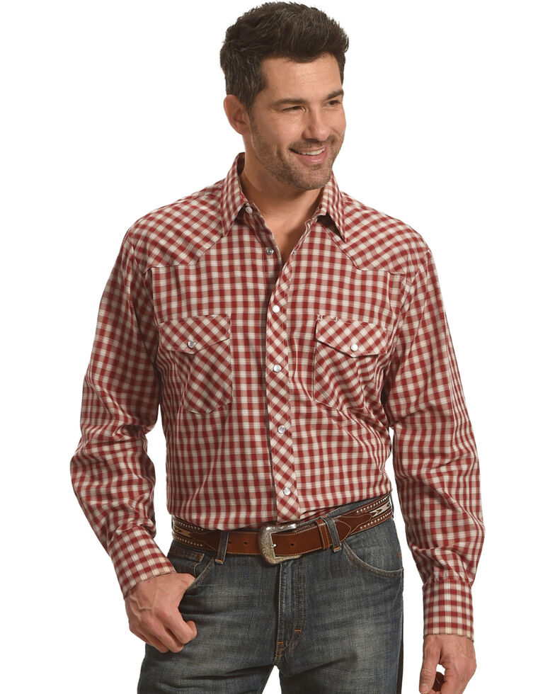 Roper Men's Red Checkered Western Shirt , Red, hi-res