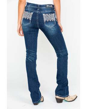Grace In LA Women's Mid Dark Boot Jeans , Blue, hi-res