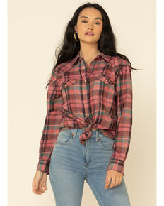 Wrangler Women's Pink Plaid Long Sleeve Boyfriend Flannel Shirt , Pink, hi-res