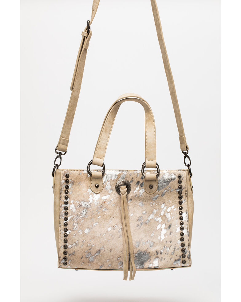 Shyanne Women's Silver Metallic Cowhide Satchel, Silver, hi-res