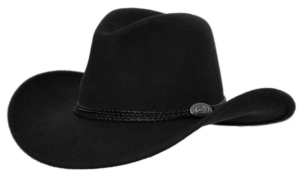 Outback Trading Co. Shy Game Crusher UPF50 Australian Wool Hat , Black, hi-res
