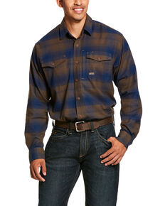 Ariat Men's Drake Rebar Flannel Durastretch Long Sleeve Work Shirt - Tall , Multi, hi-res