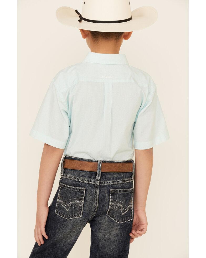 Ariat Boys' Pembroke Geo Print Short Sleeve Button-Down Western Shirt , Aqua, hi-res