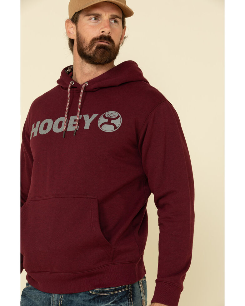HOOey Men's Maroon Lock-Up Graphic Hooded Sweatshirt , Maroon, hi-res